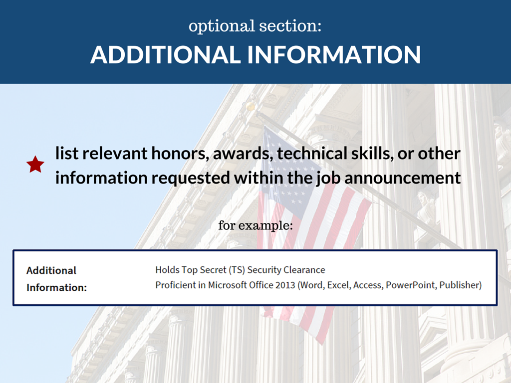 federal resume - Additional Information On Resume